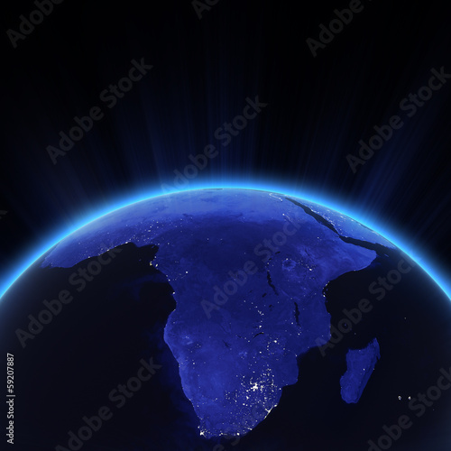 Africa city lights at night
