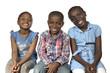 canvas print picture - Drei afrikanische Kinder laecheln