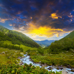 beautiful mountain valley at the evening