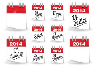 calendrier 2014 français des jours de fête