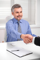 Smiling adult business man shaking hands. =
