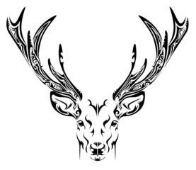 Abstract deer head tribal tattoo