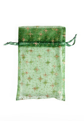 Green pouch on a white background