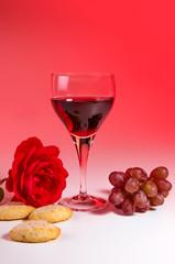 Weinglas mit Rose 1