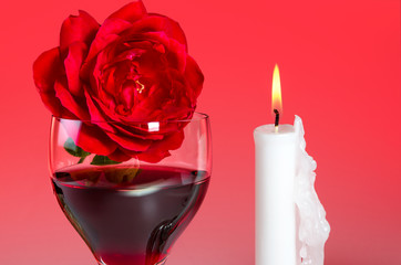Weinglas mit Rose 9