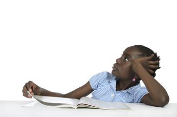 Afrikanisches Maedchen beim Nachdenken, Copy Space