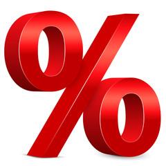 Rabatt – Rotes Prozentzeichen, 3d, Prozent, Icon, Zeichen