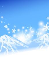 晴天と雪山