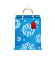 Christmas shopping bag with snowflakes