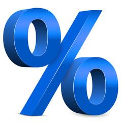 Rabatt – Blaues Prozentzeichen, 3d, Prozent, Icon, Zeichen