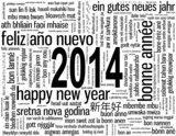 2014 Greeting Card (tag cloud translations happy new year)