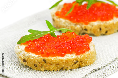 Two Snacks with Red Caviar