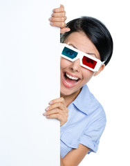 Viewer in 3D spectacles peeps out from behind the copyspace