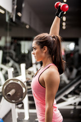 Pretty girl lifting weights
