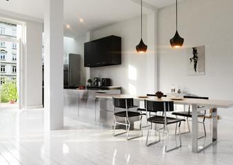 Kitchen in white Loft apartment - Wohnküche in moderner Wohnung