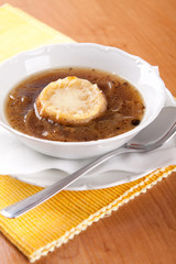 Onion soup with beef broth and bread