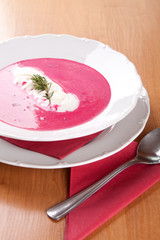 Farmer soup, cream and red beets with potatoes