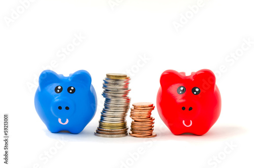 Red and blue Piggybank