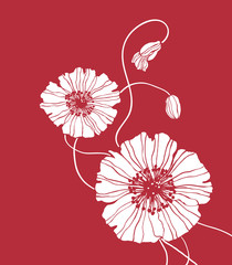 White vector flowers on red background