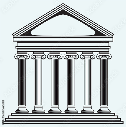 Portico an ancient temple. Bank. Colonnade