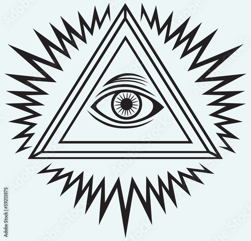 All seeing eye isolated on blue background