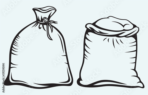 Sacks of grain isolated on blue background