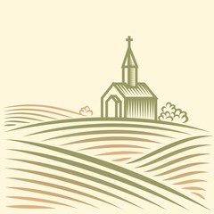 Rural landscape with fields and church