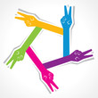 Creative victory hand icon - vector illustration