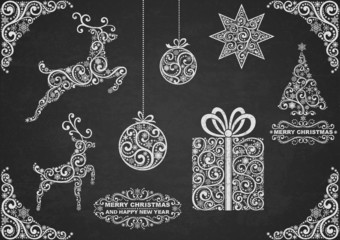Christmas symbols on chalkboard