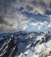Amazing view of mountains covered snow, High Tatras, Slovakia