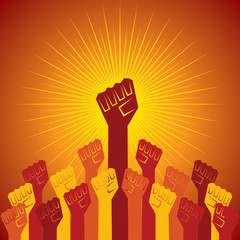 clenched fist held in protest concept  vector illustration