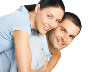 Portrait of young happy smiling attractive couple