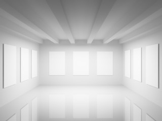 Empty white art gallery hall interior. 3d illustration