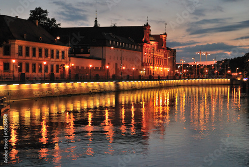 Wroclaw. Oder River quay after sunset