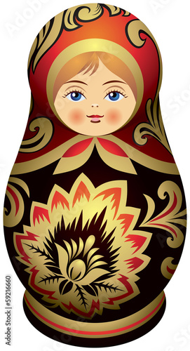 Matryoshka doll with the golden Khokhloma  ornamen