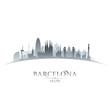 Obrazy na płótnie, fototapety, zdjęcia, fotoobrazy drukowane : Barcelona Spain city skyline silhouette white background