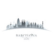 Barcelona Spain city skyline silhouette white background