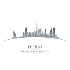 Dubai UAE city skyline silhouette white background