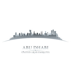 Abu Dhabi UAE city skyline silhouette white background