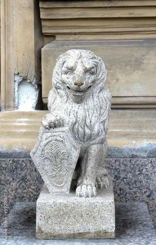 Stone lion of white granite