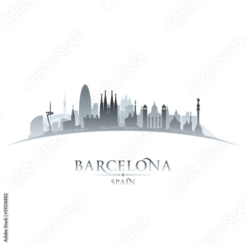 Barcelona Spain city skyline silhouette white background
