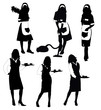 waitresses and cleaner silhouette collection