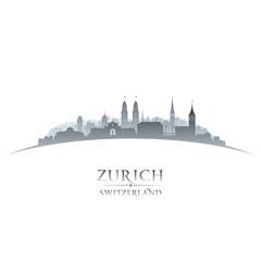 Zurich Switzerland city skyline silhouette white background