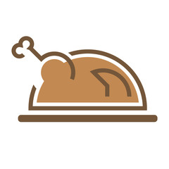 Fried delicious appetite hen Chicken sign symbol