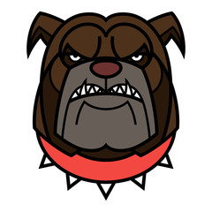 Angry Bulldog is in red spiked collar