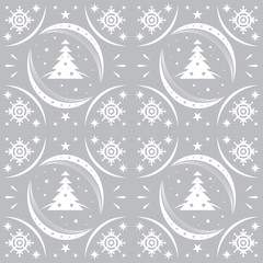 Winter pattern silver snowflakes and christmas trees