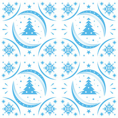 Winter pattern blue snowflakes and christmas trees