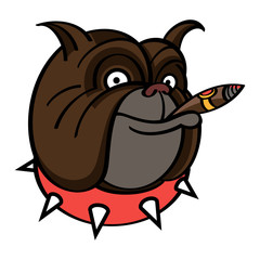 Smiling brown Dog in red spiked collar with Cigar