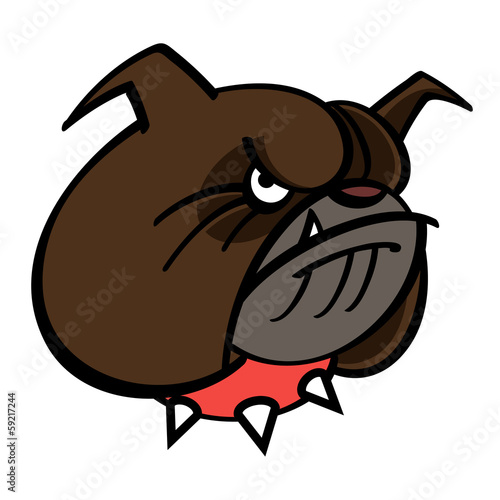 Brown Bulldog is in red spiked collar