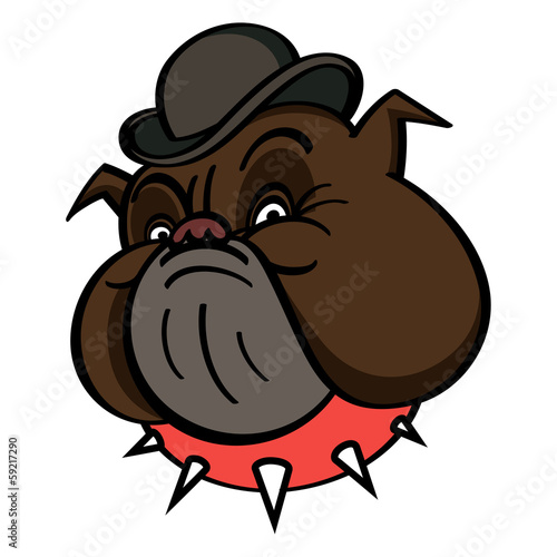 Dog in Bowler with red spiked collar